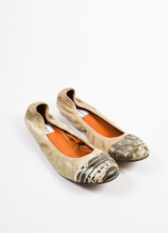 Lanvin Camel White and Black Suede and Snakeskin Cap Toe Ballet Flats Frontview
