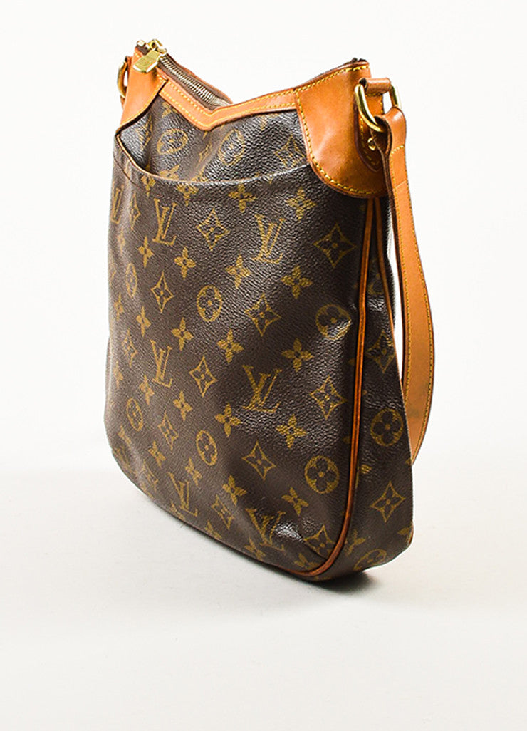 "Louis Vuitton Brown and Tan Monogram Canvas Leather Trim ""Odeon PM"" Shoulder Bag Sideview"