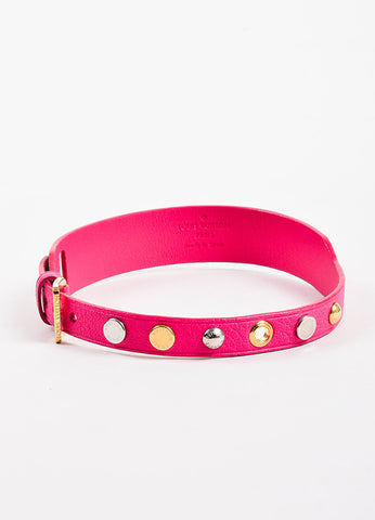Louis Vuitton Pink, Gold Toned, and Silver Toned Leather Studded Dog Collar Frontview