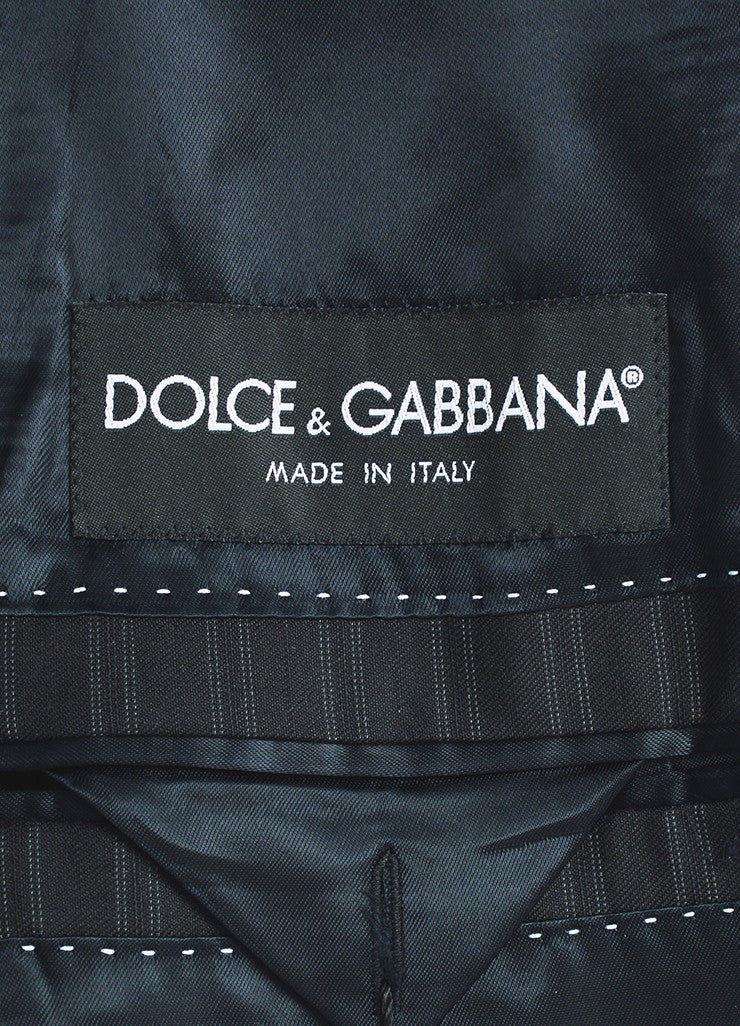 Dolce & Gabbana Black Grey Wool Silk Pinstripe Suit Jacket Brand