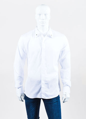 Men's Givenchy White and Silver Star Button Down Long Sleeve Shirt Frontview