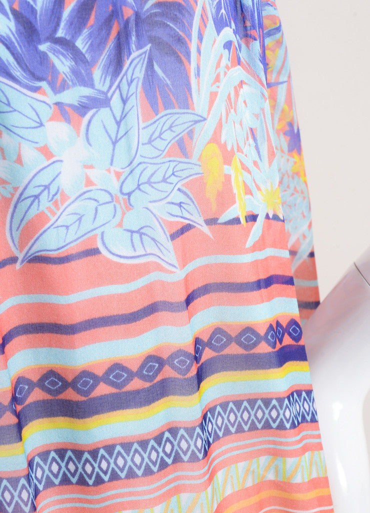 MSGM New With Tags Purple and Multicolor Silk Tropical Print Strapless Maxi Dress Detail