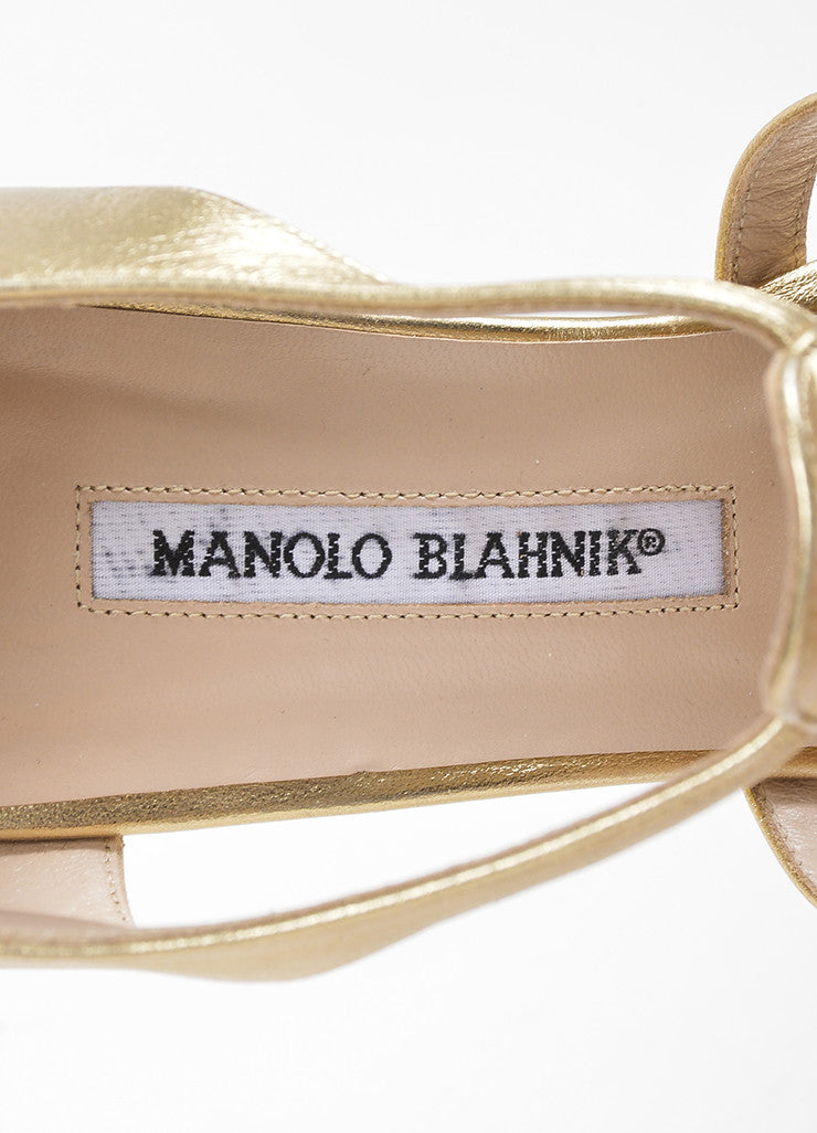Gold Manolo Blahnik Leather Rakelanzany Heeled Sandals Brand
