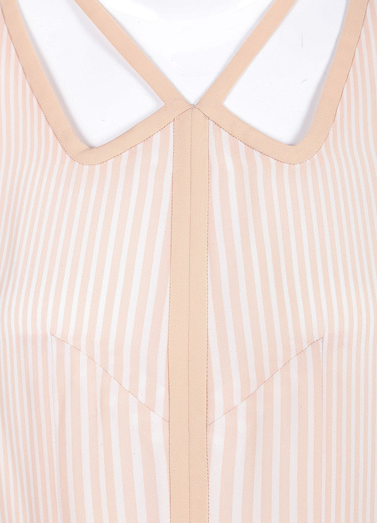 Marc Jacobs New With Tags Beige and Cream Stripe Pleated and Belted Cut Out Dress Detail