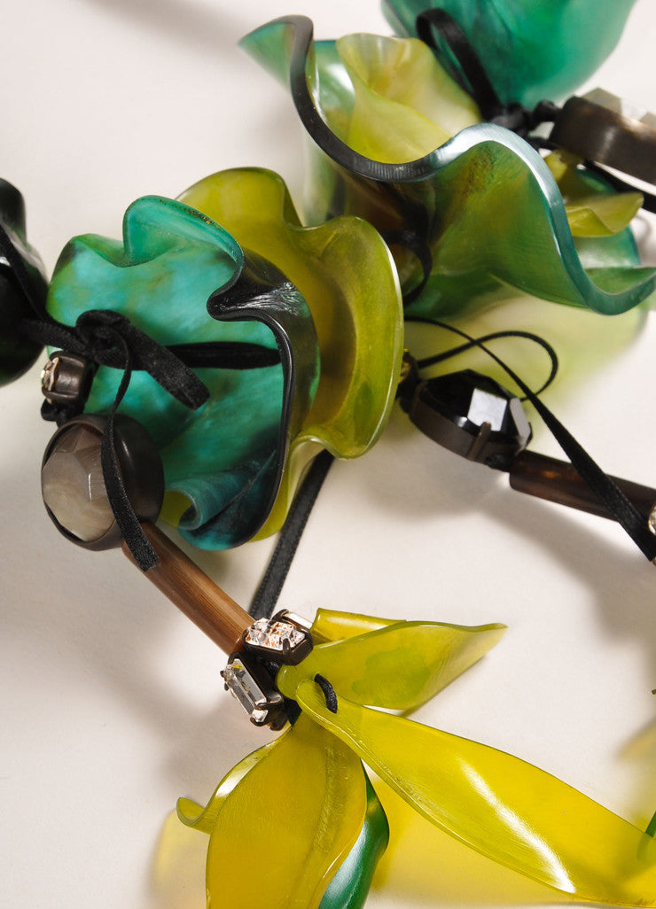 Marni Green and Black Resin Flower and Rhinestone Long Ribbon Tie Statement Necklace Detail 2