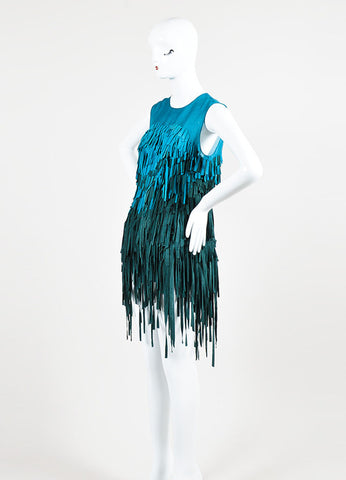 Teal and Green Mathieu Mirano Suede and Silk Sleeveless Fringe Tunic Dress Sideview