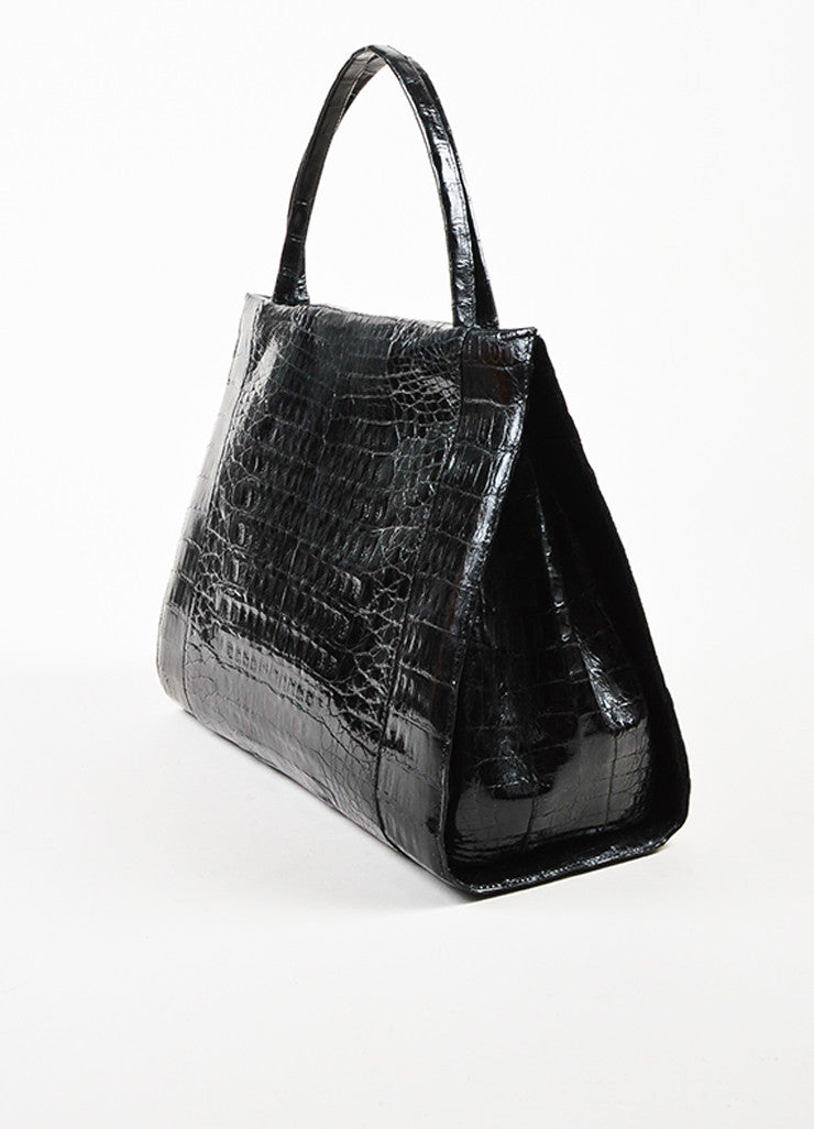 Nancy Gonzalez Black Crocodile Leather Tote Bag Sideview