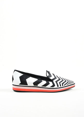 "Black and White Nicholas Kirkwood Chevron Pointed Toe ""Alona"" Loafers Side"