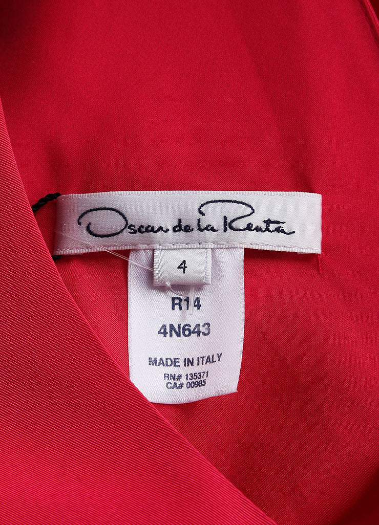 Oscar de la Renta New With Tags Pink Silk Bow Back Cap Sleeve Bell Dress Brand