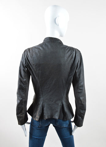 Rick Owens Dark Grey and Brown Leather and Wool Flared Zip Up Jacket Backview