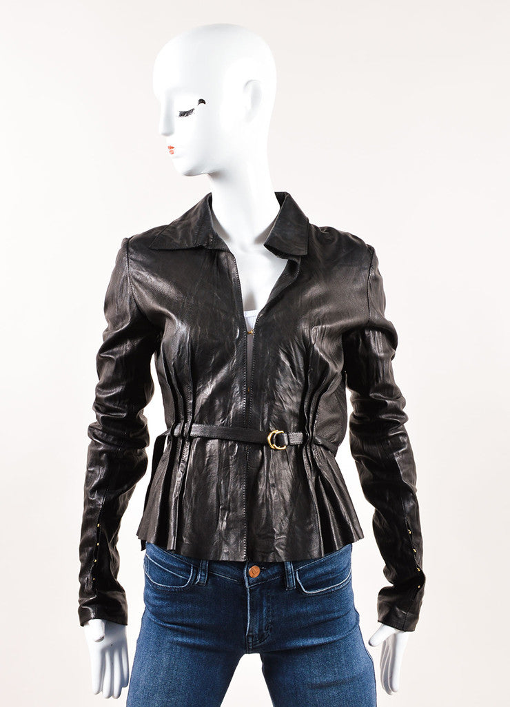Roberto Cavalli Black Leather Floral Perforated Belted Jacket Frontview