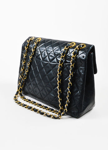 Chanel Black Quilted Lambskin Leather Gold Toned Chain Flap Shoulder Bag Sideview