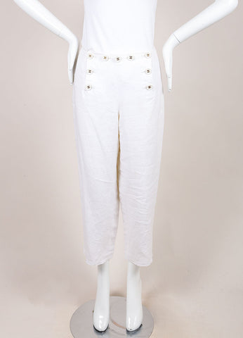 "Chanel White Linen ""CC"" Buttoned Cropped Sailor Pants Frontview"