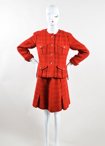 Chanel Red Wool Tweed 'CC' Buttons Belted Skirt Suit Frontview