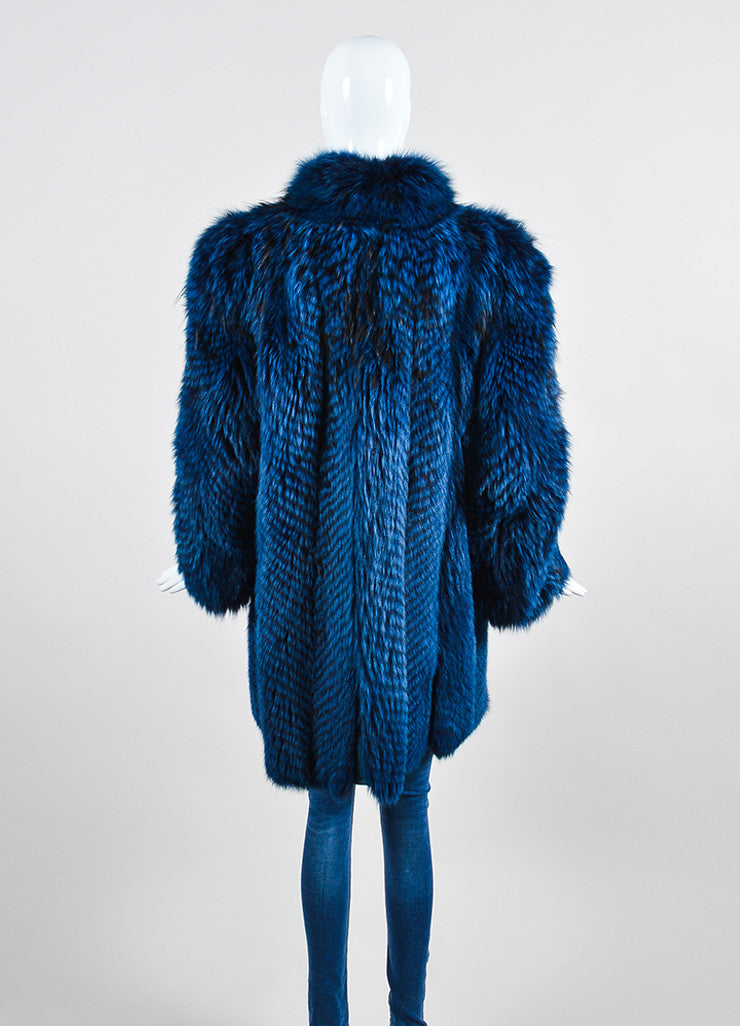 Blue and Black Neiman Marcus Zig Zag Stripe Fur Coat Backview