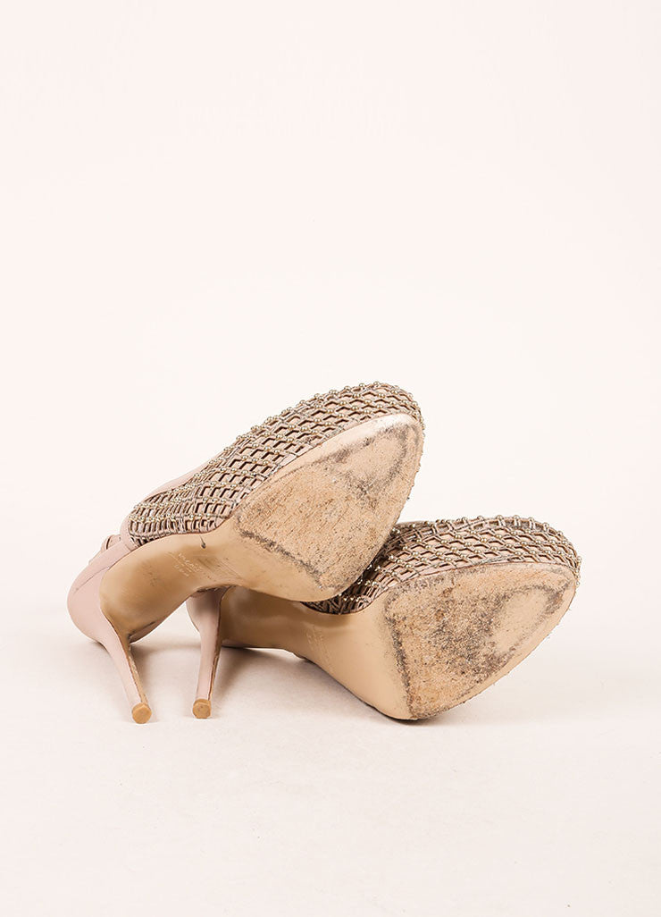 Valentino Nude and Silvery Gold Cage Mesh and Leather Slingback Pumps Outsoles