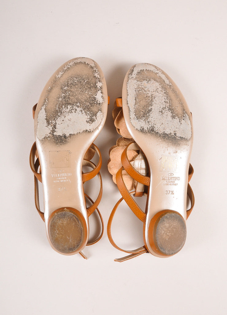 Valentino Brown Floral Applique Strappy Flat Leather Sandals Outsoles