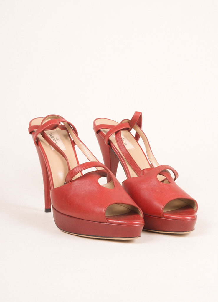 Valentino Red Leather Peep Toe Slingback Platform Pumps Frontview
