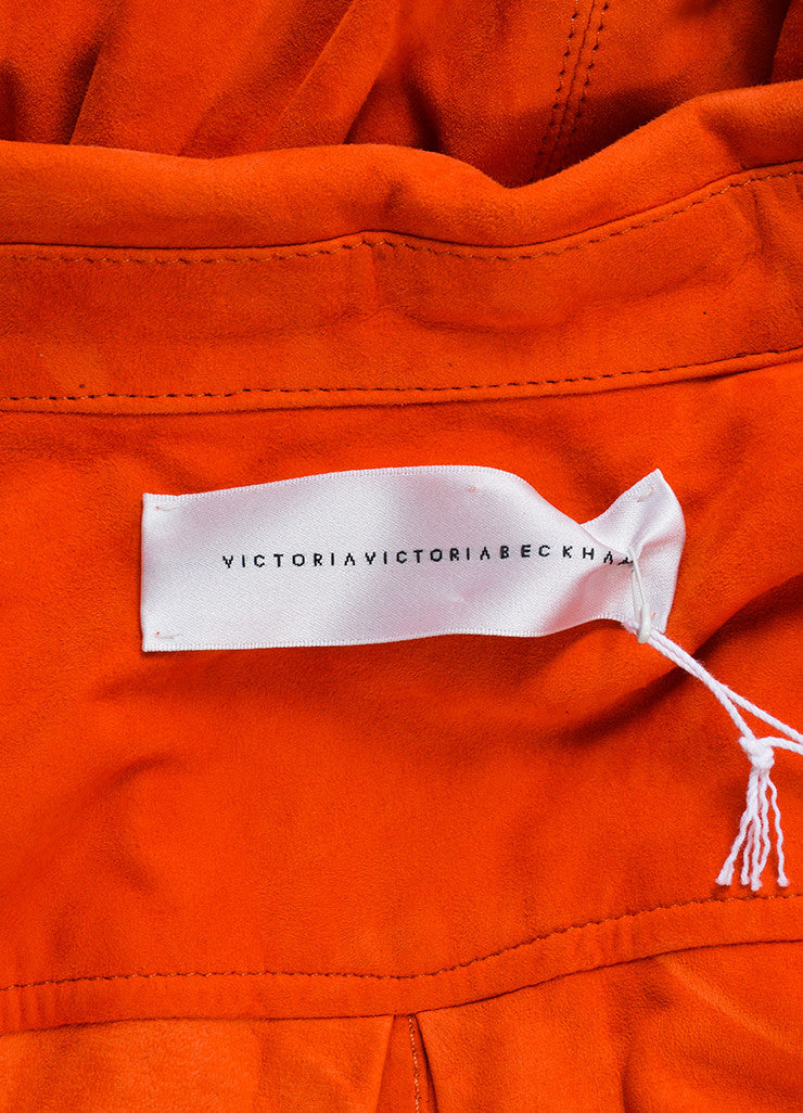 Victoria Beckham Orange Suede Short Sleeve Belted Shirt Dress Brand