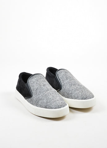 "Black, Grey, and White Vince Suede and Wool Felt ""Banler"" Skate Shoes Frontview"
