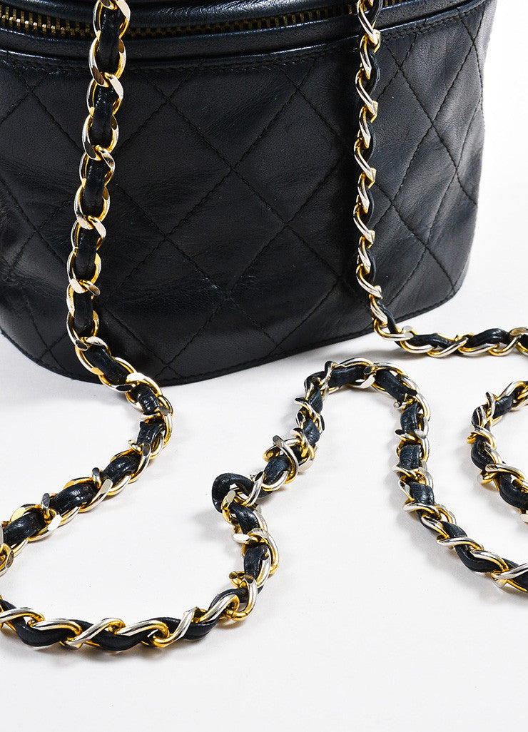 "Chanel Black Quilted Lambskin 'CC"" Tassel Cylinder Shoulder Bag Detail 2"