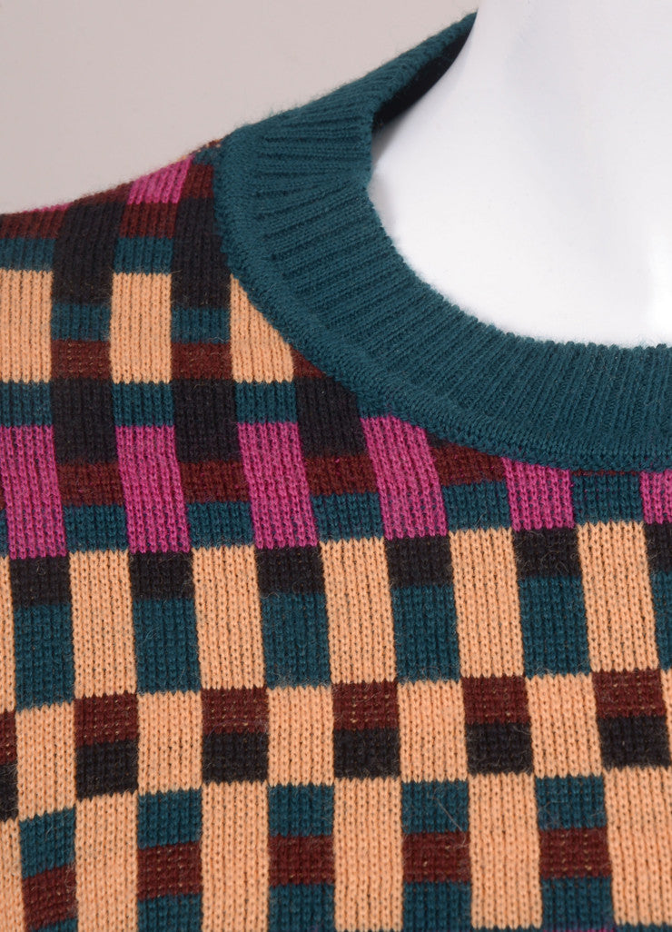 Teal, Pink, and Peach Kenzo Check Print Long Sleeve Sweater