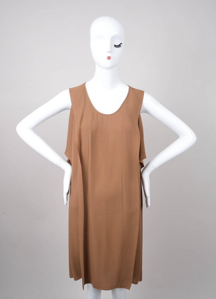 Brown Sleeveless Paneled Silk Shift Dress