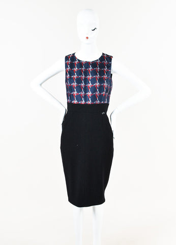 Chanel Navy Red Black Wool Printed Scoop Neck Sleeveless Sheath Dress Front