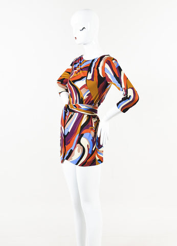 Emilio Pucci Multicolor Printed Belted Long Sleeve Mini Shift Dress Side