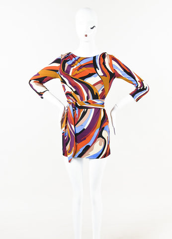 Emilio Pucci Multicolor Printed Belted Long Sleeve Mini Shift Dress Front