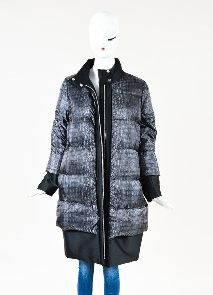 Moncler Grey Nylon Quilted Croc Print Zip Long Sleeve Down Puffer Coat Frontview