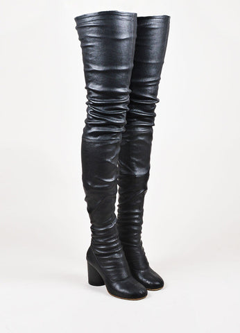 Maison Martin Margiela Black Leather Chunky Heel Thigh High Boots  Frontview