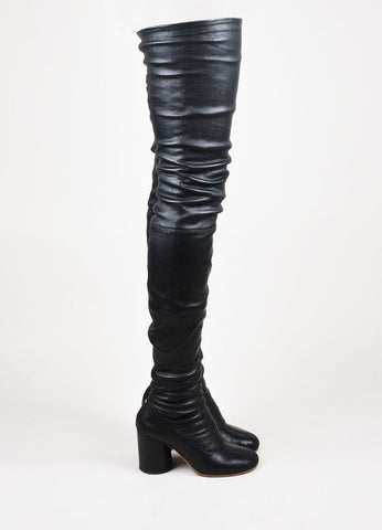 Maison Martin Margiela Black Leather Chunky Heel Thigh High Boots Sideview