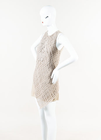 Brunello Cucinelli Taupe Silk Cashmere Crochet Sequin Asymmetric Dress Side