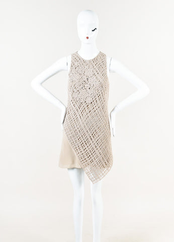 Brunello Cucinelli Taupe Silk Cashmere Crochet Sequin Asymmetric Dress Front