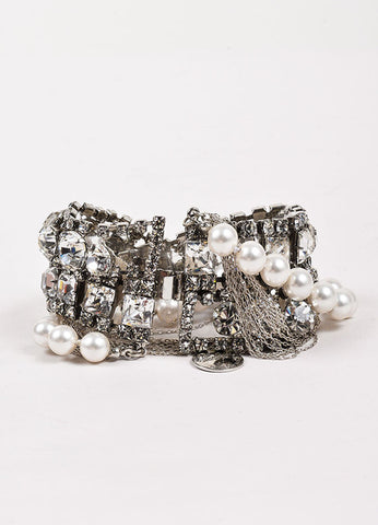 Tom Binns Crystal Faux Pearl Multistrand Twisted Chain Bracelet