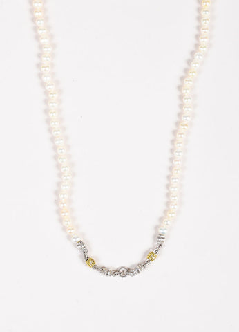 Judith Ripka JR Two Collection Sterling Silver 18K Gold Diamond Pearl Necklace Detail
