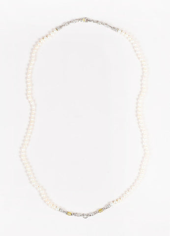 Judith Ripka JR Two Collection Sterling Silver 18K Gold Diamond Pearl Necklace Frontview