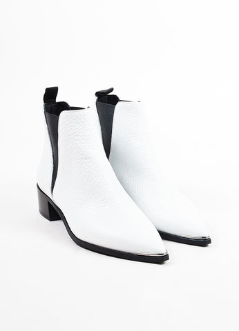 "Acne Studios White Grained Leather ""Jensen"" Chelsea Ankle Booties Frontview"