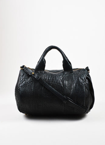 "Alexander Wang Black Pebbled Leather ""Rocco"" Duffel Bag Frontview"