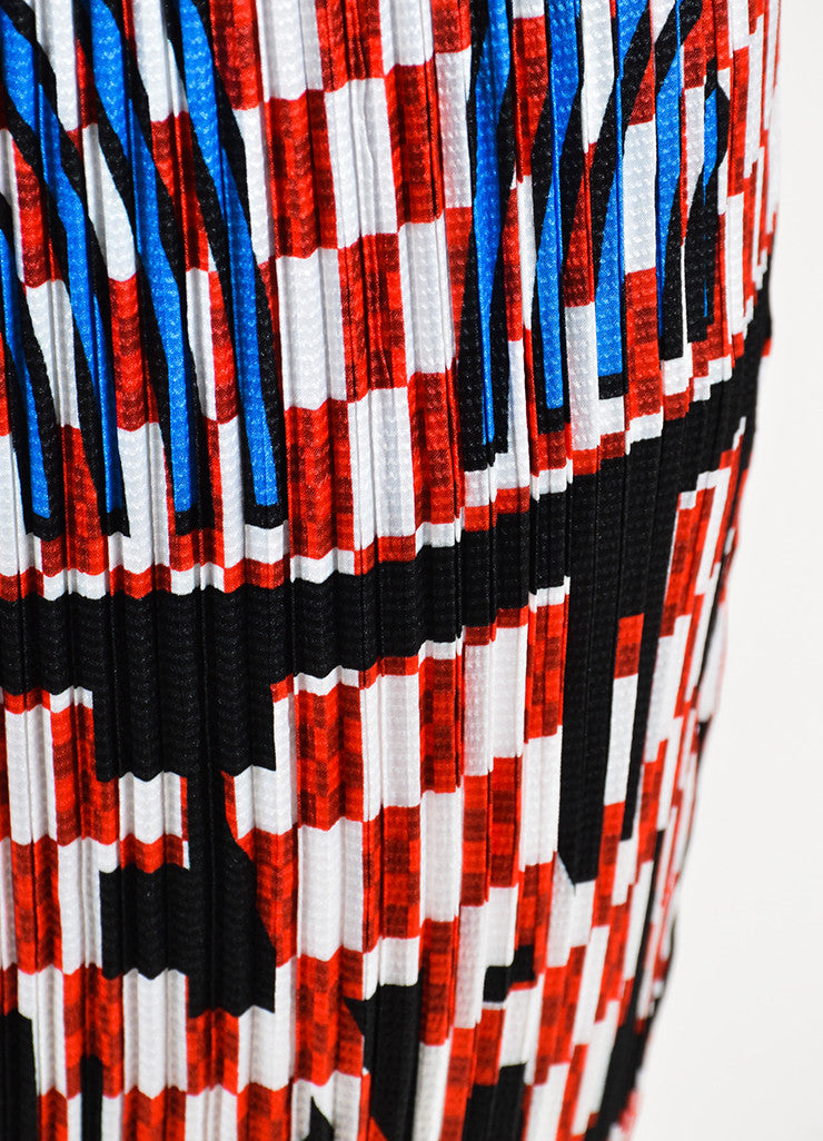 Alexander Wang Red and White Smocked Pleated Checkered Midi Skirt Detail