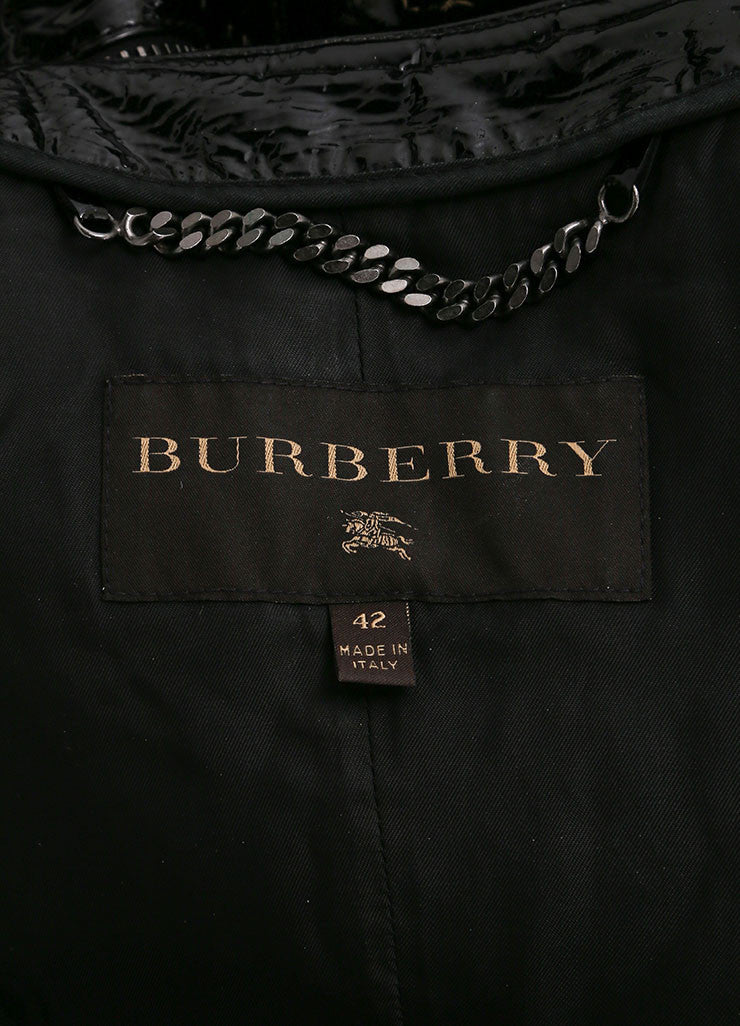 Burberry Black Patent Leather Quilted Details Moto Jacket Brand