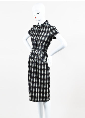 Grey, White and Black Burberry Plaid Belted Short Sleeve Shirt Dress Front