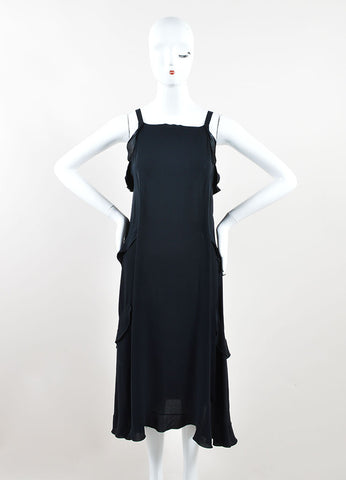 Chanel Black Silk Ruffle Trim Sleeveless Belted Midi Dress Frontview