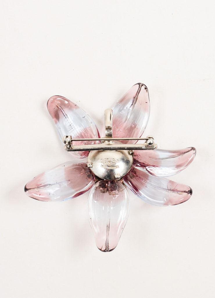 Chanel Purple Translucent Stripe Rhinestone Embellished Flower Brooch Backview