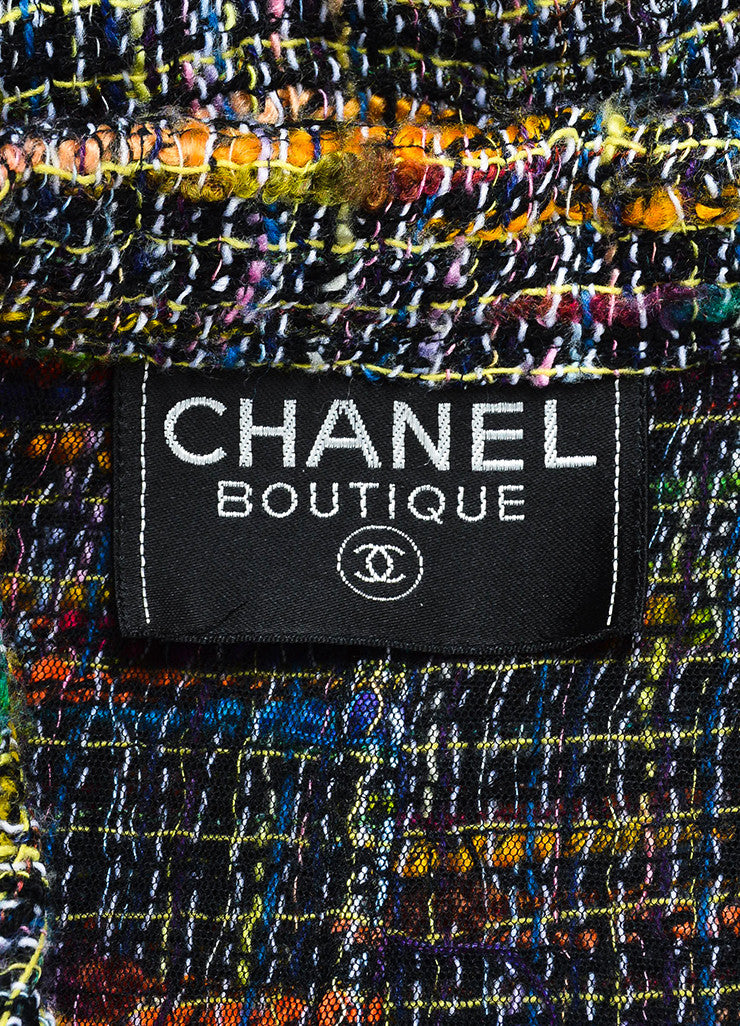 Chanel Black and Multicolor Tweed Single Button Jacket Brand