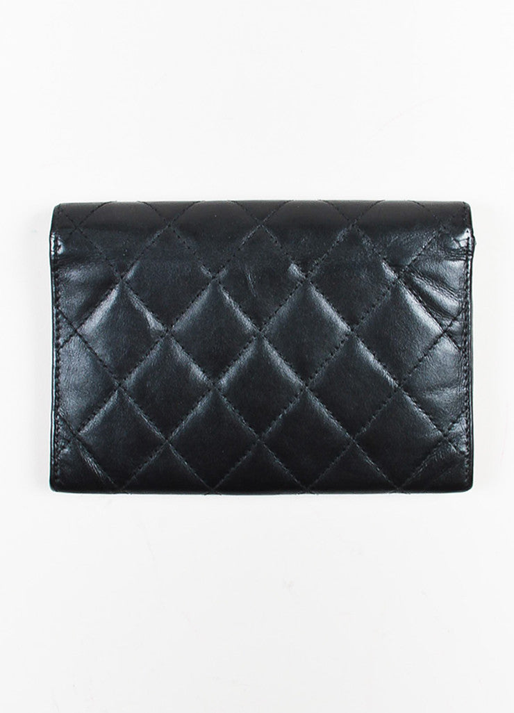 "Chanel Black and White Quilted Leather 'CC' Logo ""Ligne Cambon"" Wallet backview"