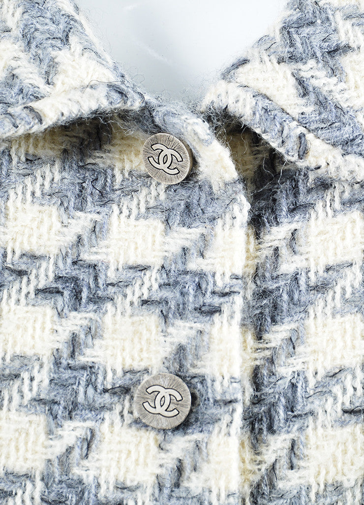 Cream, Grey, and Black Chanel Wool Woven Knit Herringbone Jacket Detail