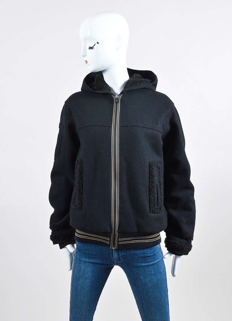 Black Chanel Wool and Faux Shearling Hooded Varsity Jacket Frontview 2