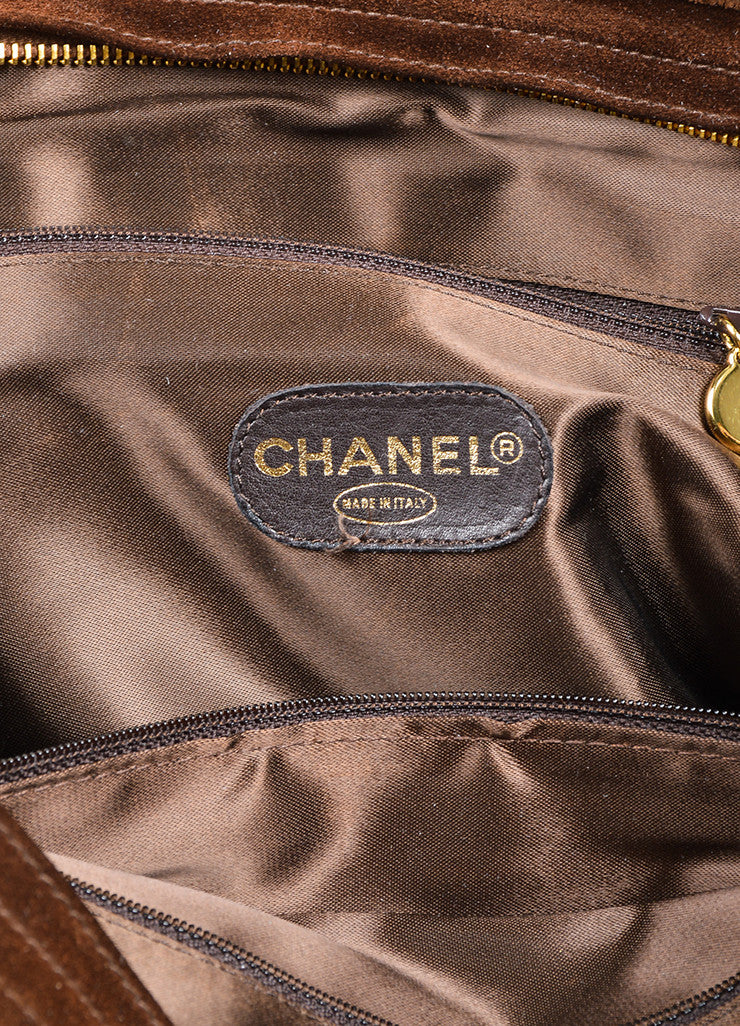 Brown and Gold Toned Chanel 'CC' Suede Leather Dual Strap Shoulder Bag Brand
